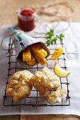 Fish tempura with polenta sticks