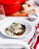 Baked mushrooms with risotto