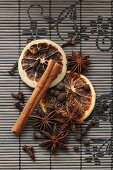 Winter spices on a bamboo mat