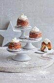 Festive caramel cheesecakes