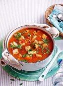 Seafood and saffron soup