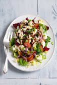 Salad with plums, mozzarella, red onions and balsamic dressing