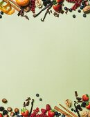 Dessert ingredients arranged around the edge of the picture