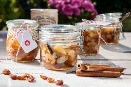 Baked apple jam with almonds