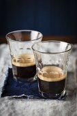 Black coffee in glasses