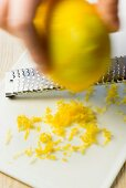 Lemon zest being grated