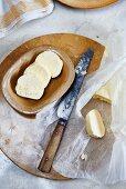 Homemade butter, sliced