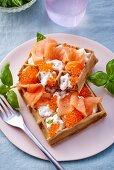 Waffles with salmon, caviar and crème fraîche
