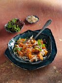 Sweet potato salad with Chinese cabbage and sesame seeds