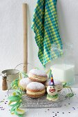 Doughnuts decorated with paper streamers