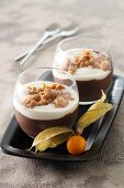 Coffee and chocolate granita with cream and biscuits