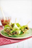 Salad rolls with mushrooms and bean sprouts