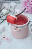 Raspberry & strawberry sauce with marshmallows