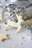 Butter biscuits, sugar beads and cookie cutters