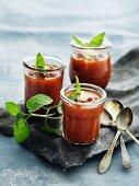 Glasses of gazpacho