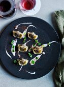 Lamb agnolotti with goat yoghurt, mint and sumac