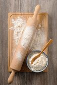 Flour with a rolling pin