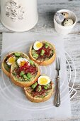 Small savory cakes with bean sprouts, quail eggs and red bean sprouts