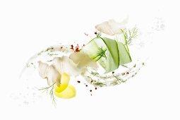 Cod with cucumber salad