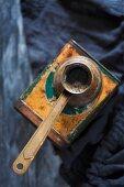 Turkish mocha in a copper jug