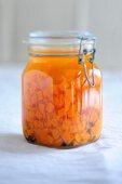 Preserved pumpkin in a flip-top jar
