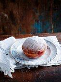 Jam doughnuts with icing sugar