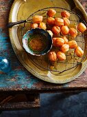 Zoolbia Bamiehi with sugar syrup (deep-fried pastries from Iran)