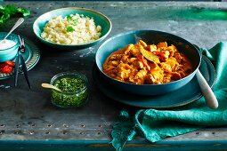 Indian coconut chicken curry with cauliflower rice
