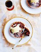 Pecan chocolate tartlets with vanilla ice cream