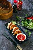 Chinese pork pan fried dumplings