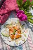 Grilled teriyaki salmon with cucumber, spring onions and radishes