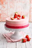Strawberry mousse cake with striped edge