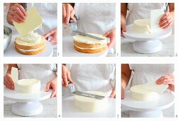 Cake bases being spread with buttercream