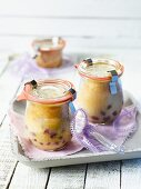 White chocolate cakes in jars as gifts