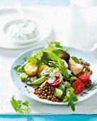 Lentil and spinach salad with salmon, cherry tomatoes and a yoghurt dressing
