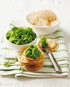 Crackers with mushy peas