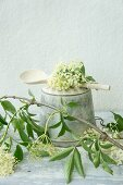 Elderflowers on an old Bundt cake tin with a wooden spoon