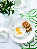 Coddled eggs with Ocean trout roe & Potato Pancakes