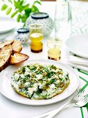 Eggwhite omelette with olive tapenade & Perisan fetta