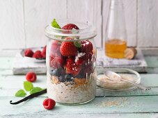 Buckwheat and berry porridge in a jar