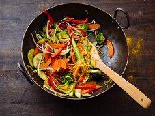 Fried vegetarian noodles and vegetables