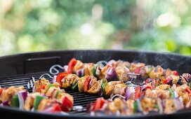 Shish kebabs on a barbecue