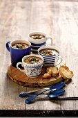 Bean soup with beef and grilled bread