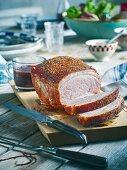 Grilled roast pork with a malt vinegar sauce