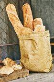 Fresh baguette for a garden party