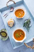Tuscan bean soup on a tray