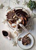Chocolate & vanilla zebra Bundt cake with Amarula ganache for Christmas