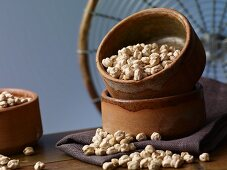Chickpeas in an earthenware bowl