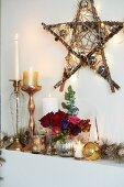 Christmas decorations on mantelpiece