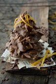 A tree made from chocolate-coated slivered almonds
